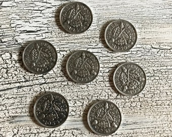 Great Britain .500 Silver Coin Cuff Links 1930/'s Three Pence Repurposed Coins Vintage UK