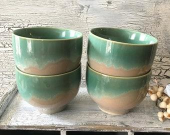 Hand Glazed Ceramic Handleless Tea Bowl Japanese Stoneware Coffee Cup