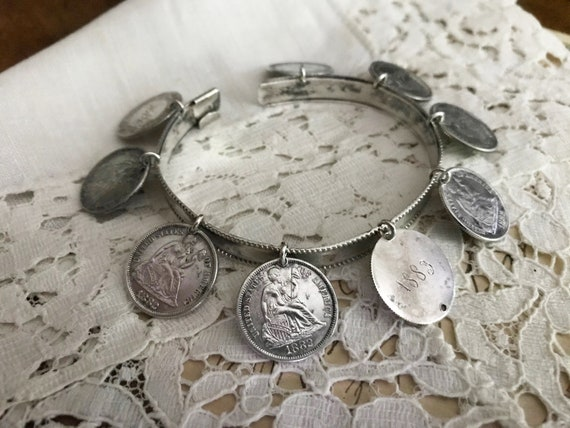 Victorian Sterling Silver Engraved Token Brooch Canadian Coins Pin 1880s
