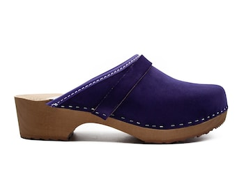 Handmade Natural Leather Swedish Clogs, Classic Clogs, Clogs For Women, Clogs Shoes VIOLET Leather ClogsChristmas giftmother Day Gift