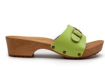 Handmade Swedish Mules, Natural handmade clogs, Natural leather, Natural wood, Leather clogs LIMEChristmas giftmother Day Gift