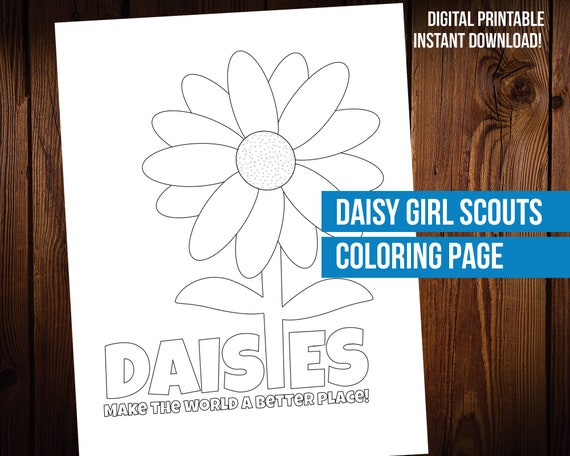 Daisy Girl Scout Coloring Page Printable Etsy