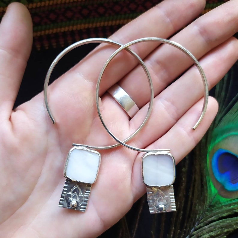 creoles Earrings silver and mother-of-pearl earrings