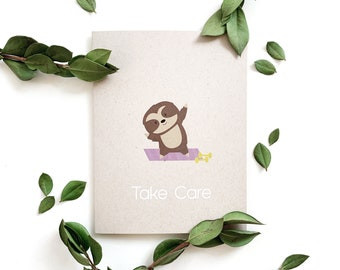 Take Care Card - Sloth, Blank greeting card, encouragement, appreciation, thinking of you, get well soon, best wishes, sympathy, yoga, peace