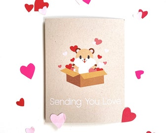 Thinking of You Card- sending love, Get well, Hamster, Blank greeting card, thank you, appreciation card, gift for her, love card, hearts
