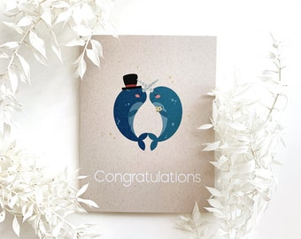 Congratulations Card- Wedding card, Narwhal, Blank greeting card, celebration card, wedding shower card, bridal shower card, engagement