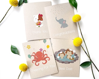 Greeting cards pack of 10 (Mix & Match Any Combination) - Blank cards, greeting card set, card pack, illustrated card, eco-friendly card