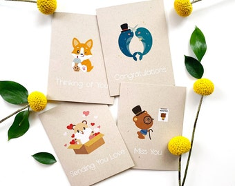 Greeting cards pack of 5 (Mix & Match Any Combination) - Blank cards, Illustrated card, Bulk cards, Greeting card set, Eco-friendly card