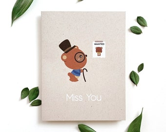 Miss You Card - bear, encouragement card, blank greeting card, bear card, missing you card, bear illustration, fun illustrated card