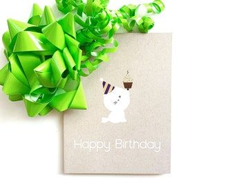Birthday Card - celebrate, cupcake, seal, blank greeting card, gift for her, gift for him, cute birthday card, cake, party, birthday present