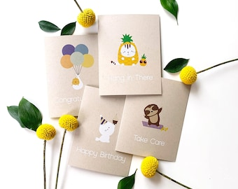 Greeting cards pack of 4 (Mix & Match Any Combination) - Blank cards, bulk cards, illustrated card, greeting card set, eco-friendly card