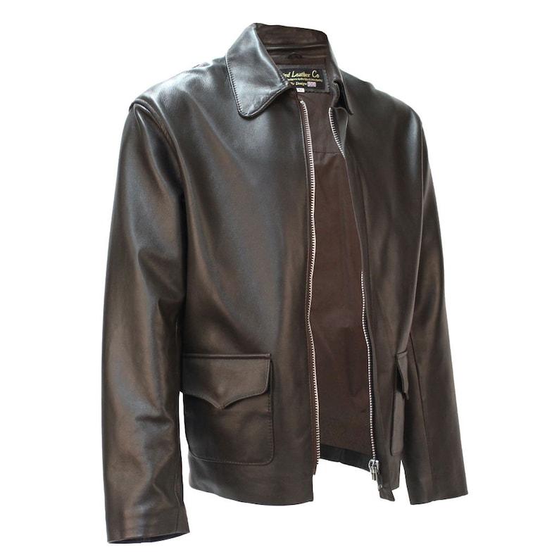 Men's Vintage Jackets & Coats 1935 Temple of Doom Jacket in Brown Lambskin Authentic