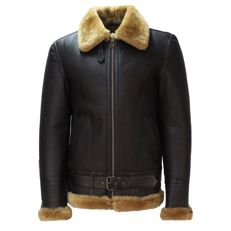 Men's Vintage Jackets & Coats Pilot RAF B3 Sheepskin Jacket Brown / Ginger (Belted)  AT vintagedancer.com