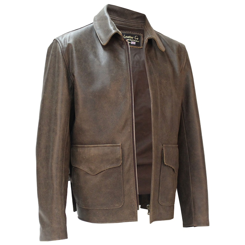 Men's Vintage Jackets & Coats 1936 Raiders of The Lost Ark Leather Jacket in Pre-distressed Hide Authentic