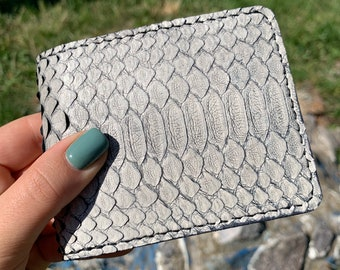 Natural Gray Men Snake Python Bi-fold New Design Leather Wallet