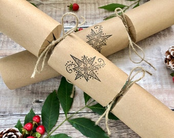Box of 6 Beautiful eco-friendly hand made Christmas Crackers*Eco-friendly Christmas*Plastic Free Christmas Crackers*