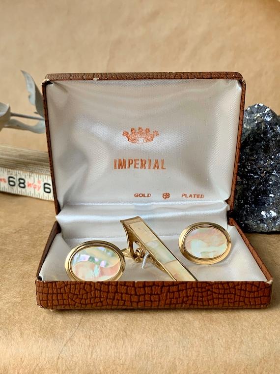 Art Deco Cufflinks Vintage Genuine Mother-of-Pearl Gold Tone Brass Steampunk Cosplay Jewelry Wedding Elegant Attire Men Gift Dad Minimalist
