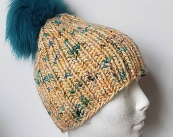 Wool Blend Pom Pom Hat, Turquoise Pom Pom, Hand Knit Beanie, Removable Pom, Peach with blue, Brown and Black, Red and Black