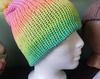 Tie Dye Beanie, TikTok Beanie, Rainbow Beanie, Pom Pom, Reversible Hat
