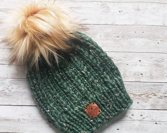 Green Beanie, Pom Pom Hat, Winter Slouch Toque, Cold Weather Accessory, Tweed Hat, Hand Knit