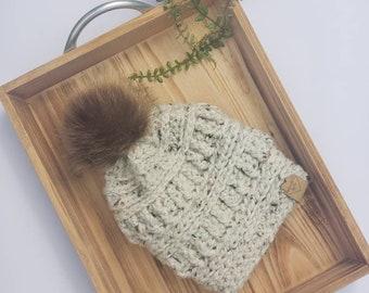 Womens tweed tan beanie crochet with fur pom pom