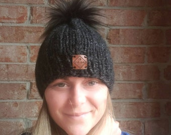 2 Tone Pom Pom Beanie, Charcoal Gray Winter Hat, Removable Pom, Wool Ease Thick and Quick Beanie, Hand Knit