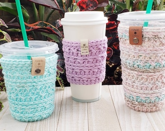Made to order cup cozy Hot coffee sleeve or iced drink cozy
