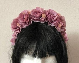 2 Stück Haarclip Lila Ansteckblume Blume Perlen Federn Strassstein flieder