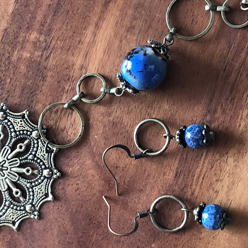 Brass and Blue Ceramic Necklace and Earring Set