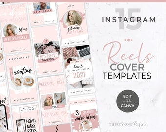Instagram Reels Templates - Canva Templates for Instagram Reels, Instagram Stories, Social Media, Video Templates, Reels Cover Template