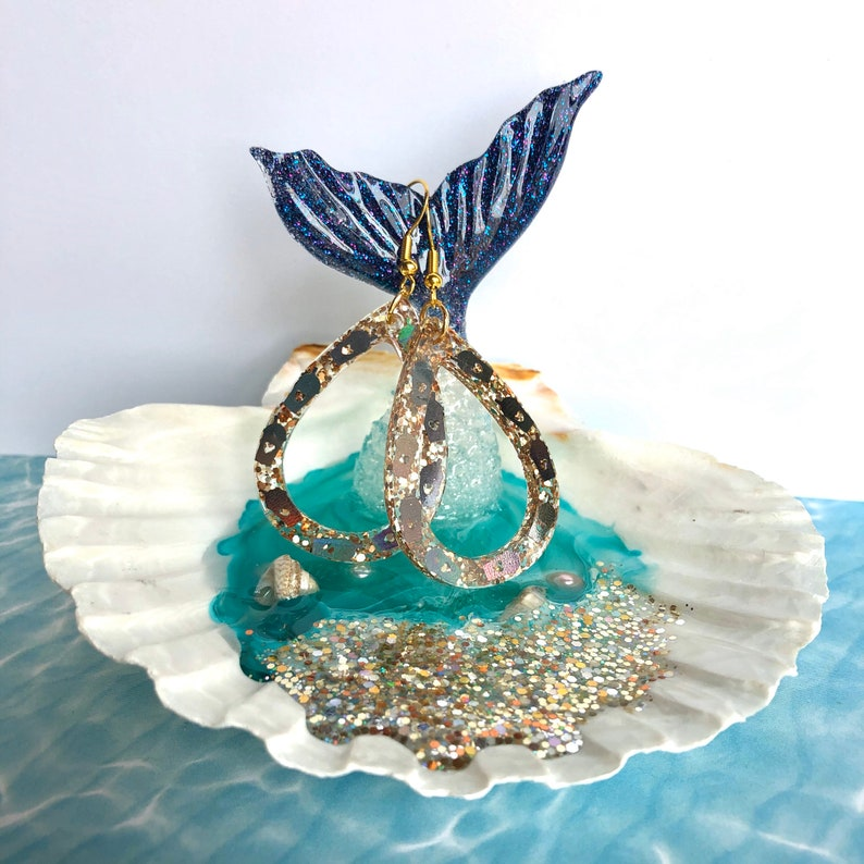 resin beach jewelry tray Mermaid tail trinket dish seashell ring tray