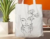 One Line Face Tote Bag, Shoulder Bag, One Line Drawing Tote Bag, Cotton Tote Bag, Shopping Bag, Gift For Her, Grocery Bag, Friendly Bag