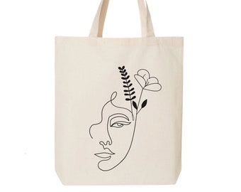 Canvas Tote Bag Birthday Gift For Her One Line Art Tote Bag Minimal Face Line Canvas Bag One Line  Drawing Tote Bag Custom Tote Bag