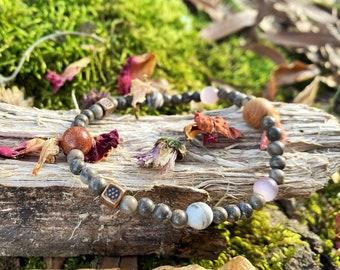 Infinite Harmony Gemstone Bracelet _ Agate, Goldstone, Picasso, Chrysoberyl, & Cedar sizes 6.25, 7.5, 8