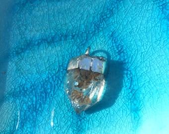 Herkimer Diamond - Hand dug & Artisan Made Raw Stone Necklace Genuine Rare Double-Terminated Crystal Crown Chakra Aries Sagittarius