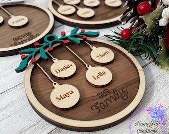 Personalized Family Christmas Ornaments, Custom Ornament, 2021 Wood Xmas Ornament, Ornament With Family Member Names