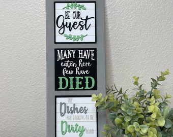 Kitchen Leaning Sign with Interchangeable Tiles, Funny Kitchen sign, Leaning Signs, Interchangeable signs, DIY Home Sign, Home Decor