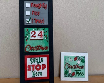 Unfinished Christmas Leaning Sign Interchangeable Tiles, Funny Kitchen sign, Leaning Signs, Interchangeable signs, DIY Home Sign, Home Decor