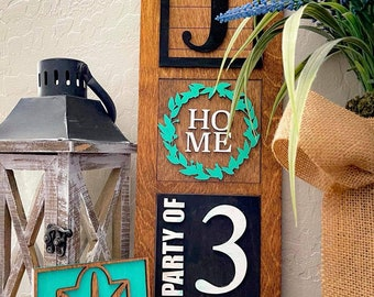 Unfinished Home Leaning Sign with Interchangeable Tiles, Party of, Home Sign, Interchangeable signs, DIY Home Sign, Home Decor