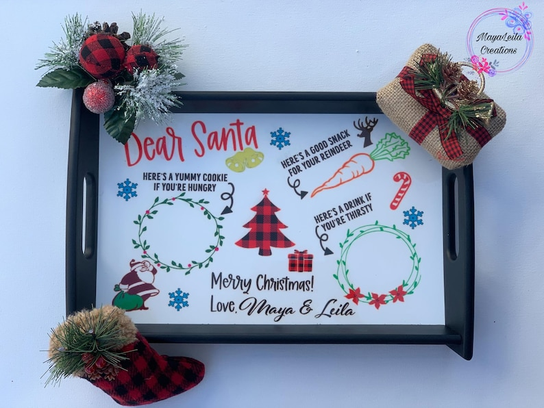 Dear Santa cookie tray Personalized Santa Tray cookies and image 0