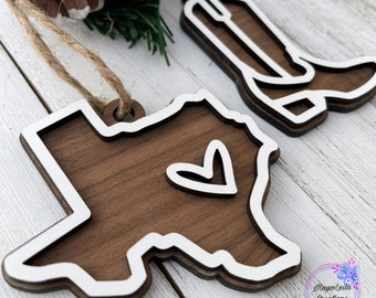 Texas State Wood Ornament, Texas Ornament, State Ornament, Wood Ornament, State Heart Ornament, State Cutout, US Ornament