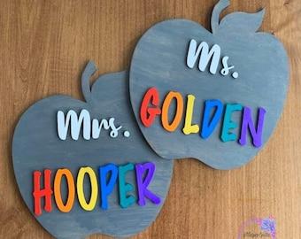Personalized Apple Sign Gift, Teacher Appreciation, Teacher Gift