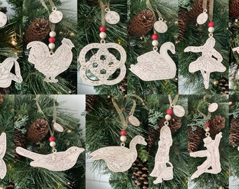 12 Days of Christmas Ornament, Wood Ornaments, Christmas Ornaments