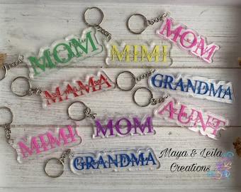 Mom personalized acrylic Keychain/ Dad personalized acrylic Keychain
