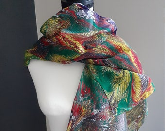 Water-Marbled Scarf - multi-colored