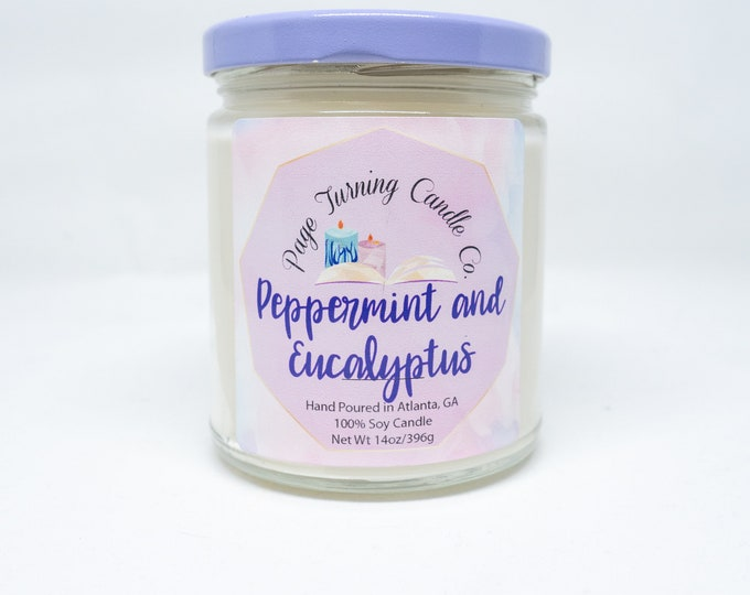 Peppermint and Eucalyptus 8oz **  100% Soy Candle ** Handmade ** Hand Poured ** Stress Relief ** Page Turning Candle Co