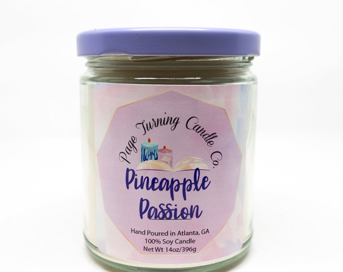 Passion Pineapple 8oz Candle ** 100% Soy ** Handmade ** Hande Poured