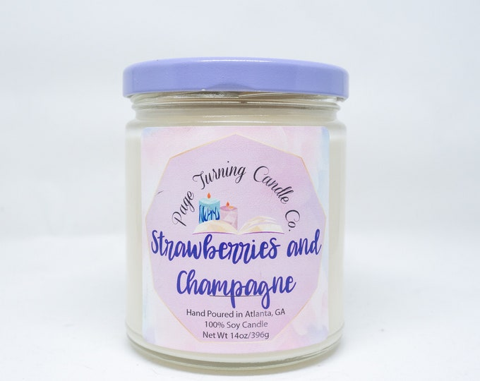 Strawberries and Champagne Scented Candle 8oz ** 100% Soy Candle ** Handmade ** Hand Poured
