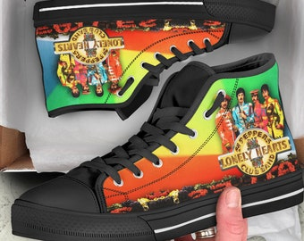The Beatles Low Top Converse Style Custom Shoes, Beatles Fan Gift, Beatles Shoes Custom