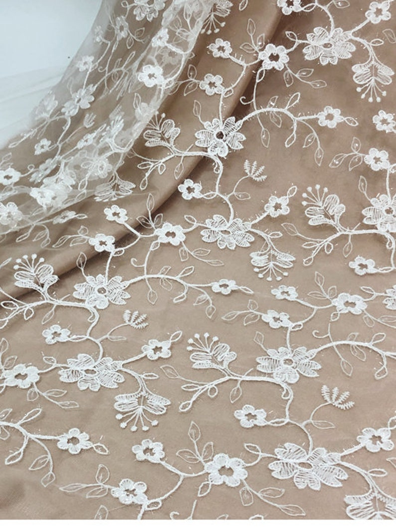 Flower Embroidery Lace Fabric,Tulle Bridal Lace Wedding Dress,Eyelash Dress Fabric By the yard